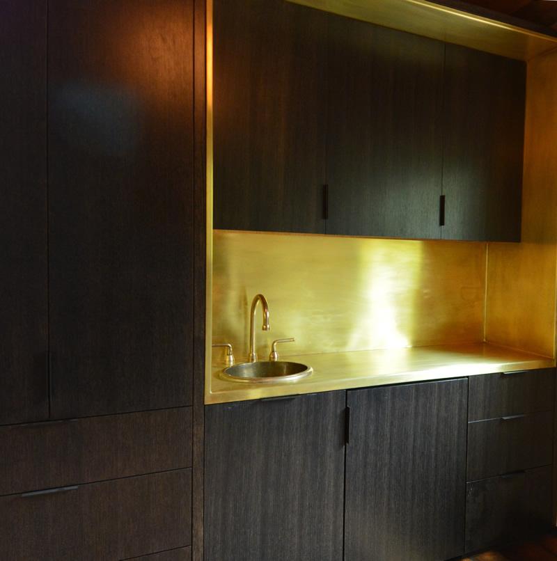 Brass Kitchenette in Studio Apartment
